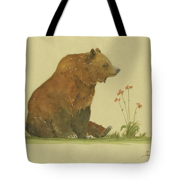 Alaskan Grizzly Bear Tote Bag by Juan Bosco