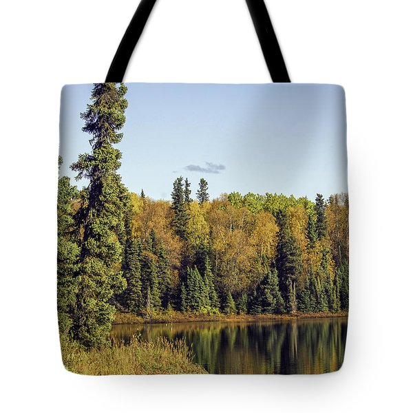 Alaskan Lake In Autumn Tote Bag