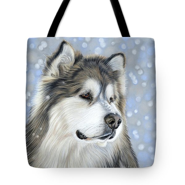Tote Bag featuring the mixed media Alaskan Malamute by Donna Mulley