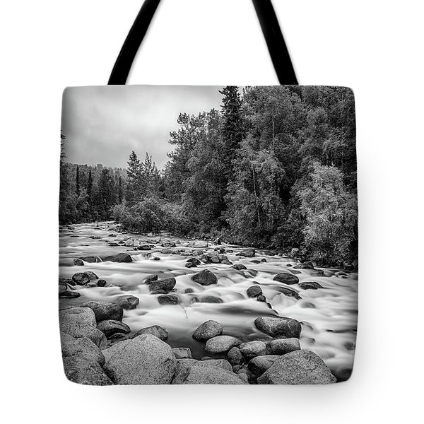 Alaskan Stream In Black And White Tote Bag