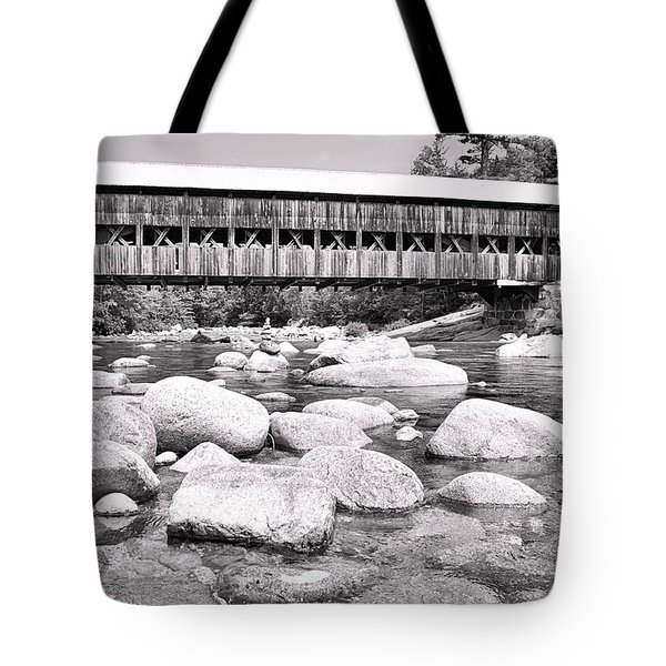 Albany Covered Bridge In Black And White Tote Bag