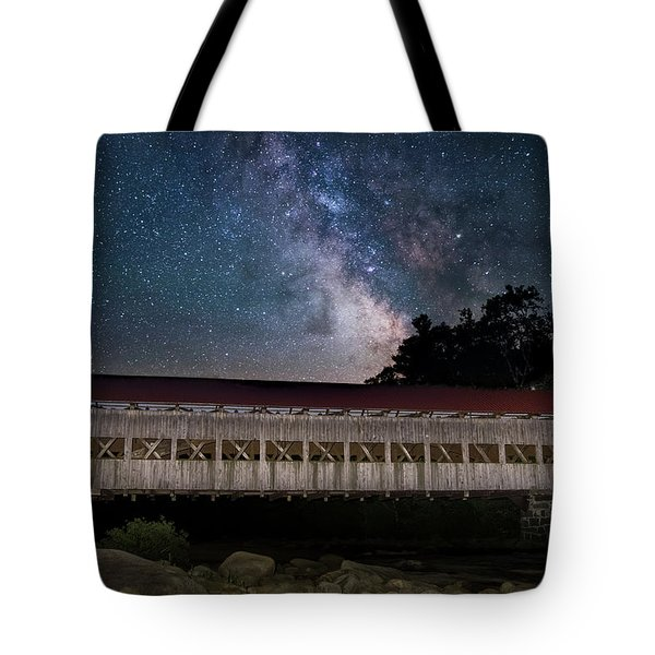 Albany Covered Bridge Under The Milky Way Tote Bag
