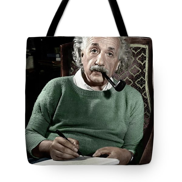 Tote Bag featuring the photograph Albert Einstein by Granger