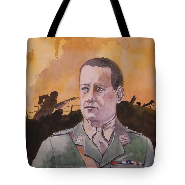 Tote Bag featuring the painting Albert Jaka Vc by Ray Agius