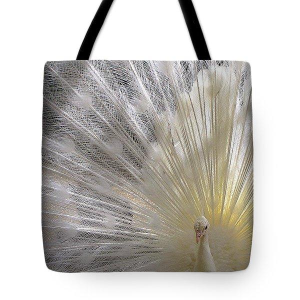 Pure White Peacock Tote Bag