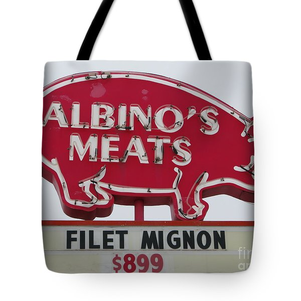 Tote Bag featuring the photograph Albino's Meats by Michael Krek