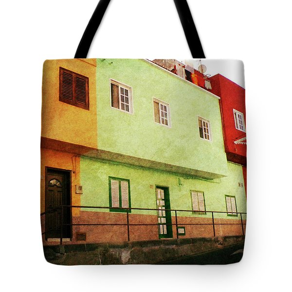 Tote Bag featuring the photograph Alcala Orange Green Red Houses by Anne Kotan
