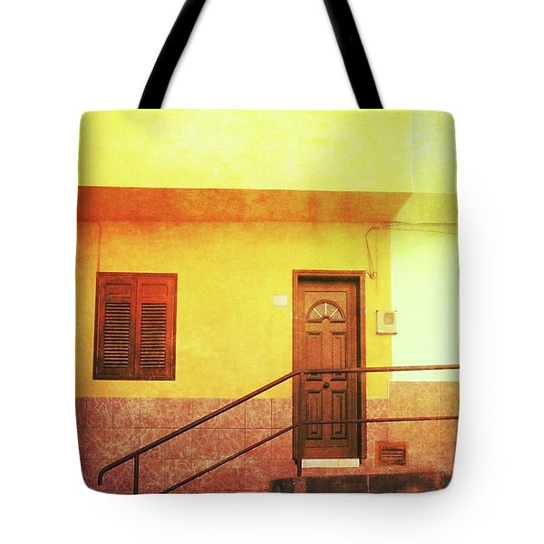 Tote Bag featuring the photograph Alcala Yellow Green Houses by Anne Kotan