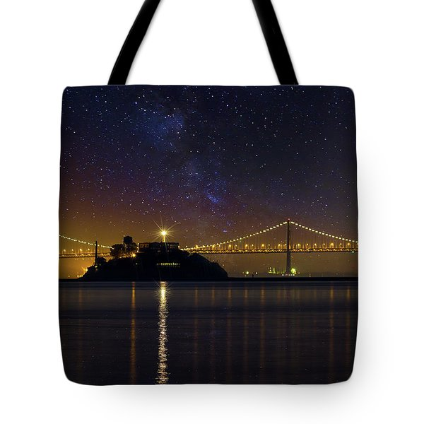 Alcatraz Island Under The Starry Night Sky Tote Bag by David Gn
