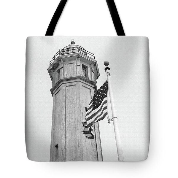 Tote Bag featuring the photograph Alcatraz Light - San Francisco by Art Block Collections