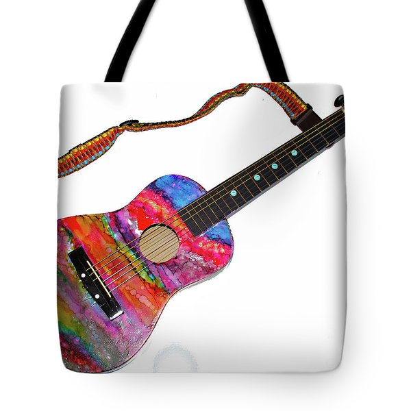 Alcohol Ink Guitar Tote Bag by Alene Sirott-Cope