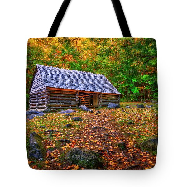 Alex Cole Cabin At Jim Bales Place, Roaring Fork Motor Trail In The Smoky Mountains Tennessee Tote Bag