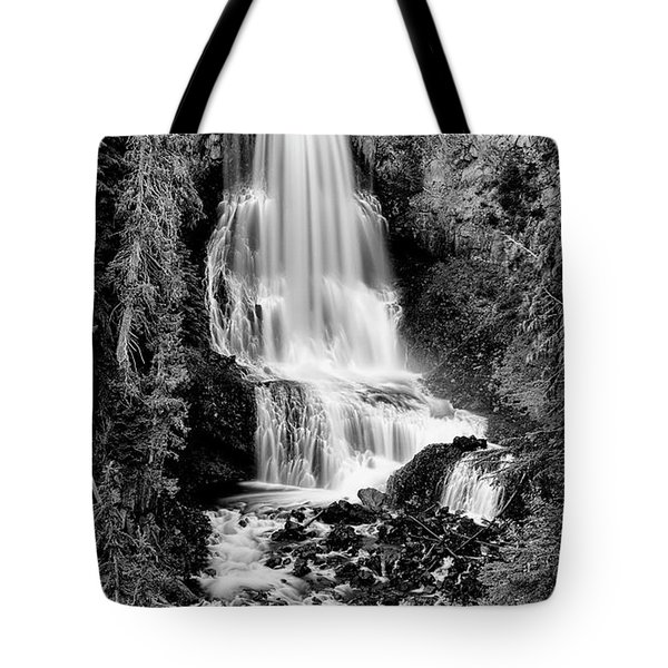 Tote Bag featuring the photograph Alexander Falls - Bw 2 by Stephen Stookey