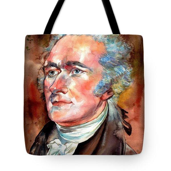 Alexander Hamilton Watercolor Tote Bag