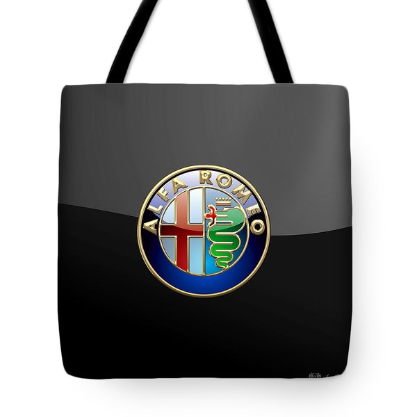 Alfa Romeo - 3 D Badge On Black Tote Bag