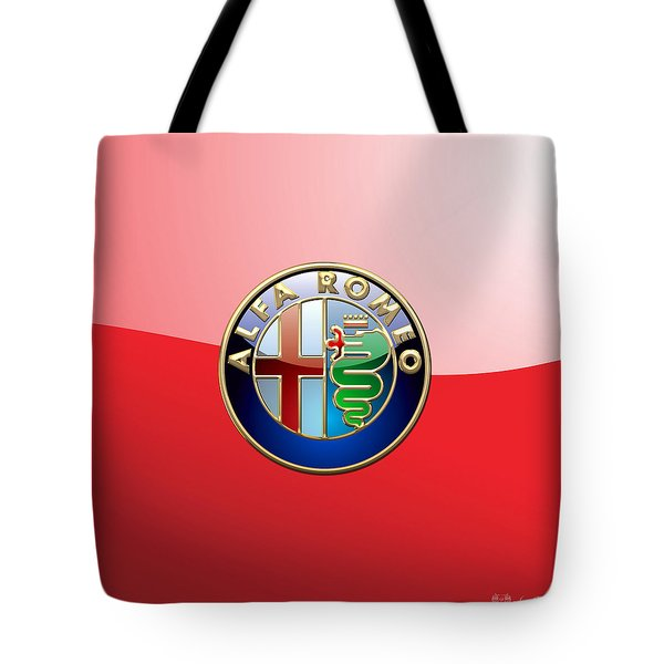 Alfa Romeo - 3d Badge On Red Tote Bag