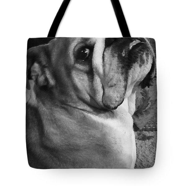Alfred Hitchcock Bullie Pose Tote Bag by Kym Backland