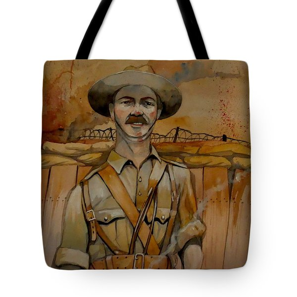 Tote Bag featuring the painting Alfred Shout Vc by Ray Agius