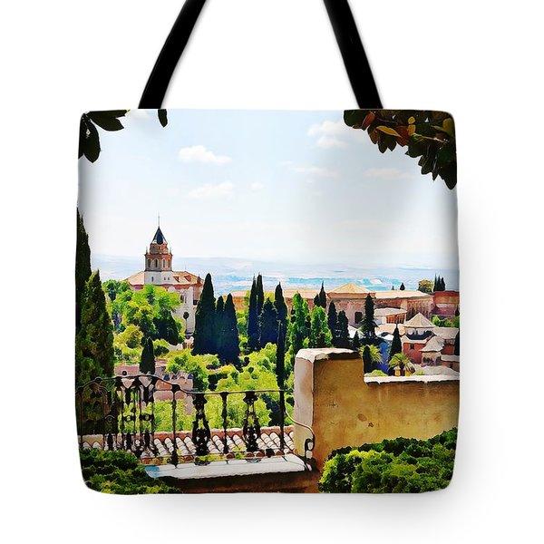 Alhambra Gardens, Digital Paint Tote Bag