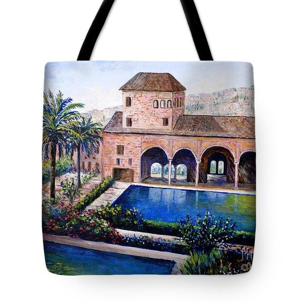 Alhambra Spain Tote Bag by Lou Ann Bagnall
