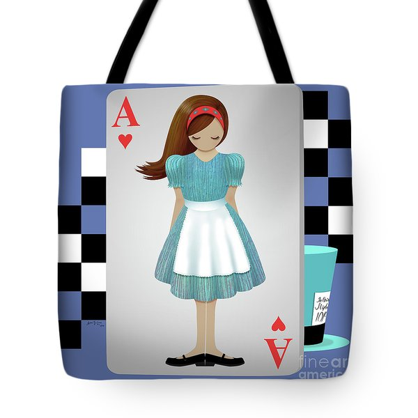 Alice 3d Flying Cards Tote Bag by Audra Lemke