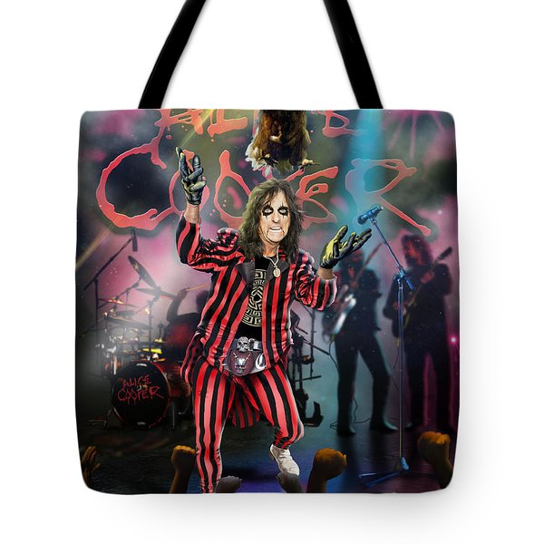 Tote Bag featuring the painting Alice Cooper by Don Olea