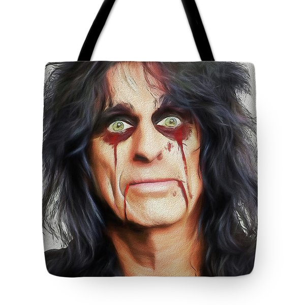 Tote Bag featuring the digital art Alice Cooper Killer by John Haldane
