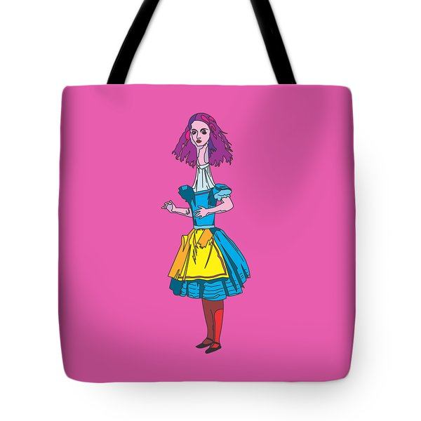 Alice In Wonderland - Ask Alice - Psychedelic Alice Tote Bag by Paul Telling
