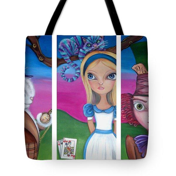 Alice In Wonderland Inspired Triptych Tote Bag by Jaz Higgins