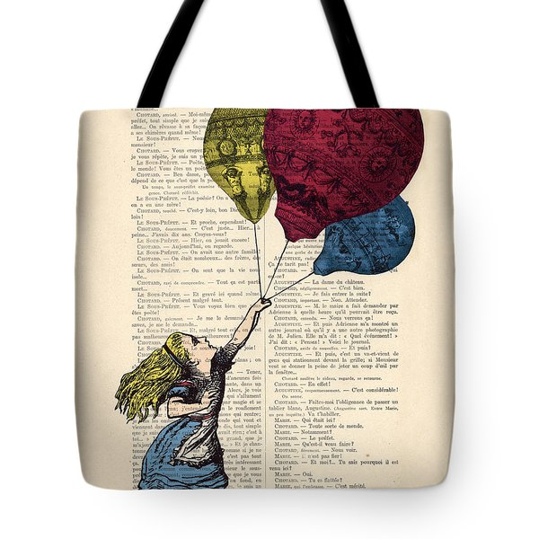 Alice In Wonderland With Big Colorful Balloons Tote Bag