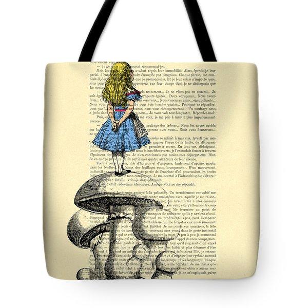 Alice In Wonderland Standing On Giant Mushroom Tote Bag