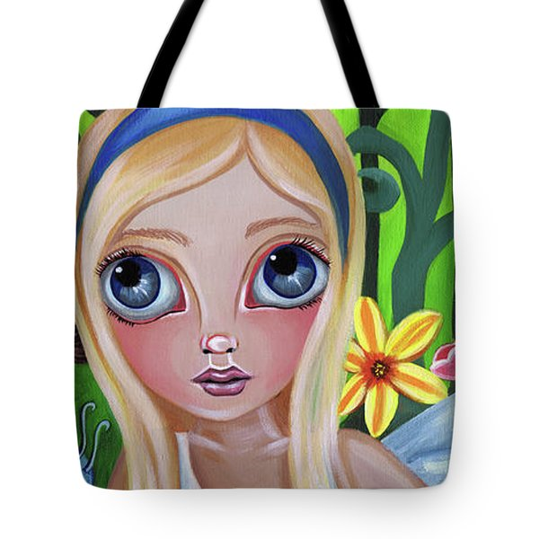 Alice Meets The Caterpillar Tote Bag by Jaz Higgins