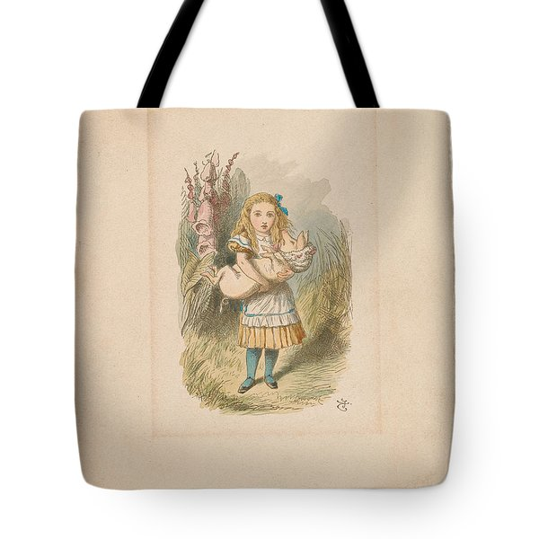 Alice With Baby Pig Tote Bag