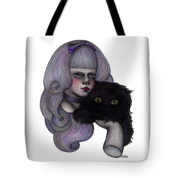 Alice With Black Cat Tote Bag