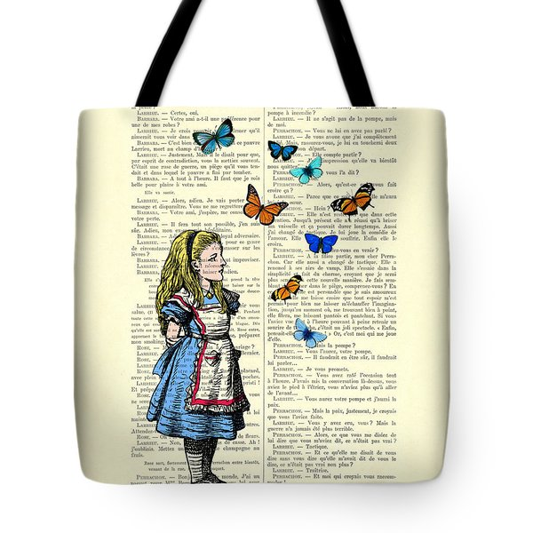 Alice With Blue And Orange Butterflies Tote Bag