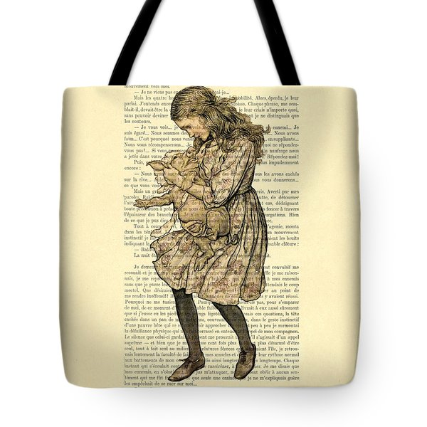 Alice In Wonderland With The Pig Tote Bag