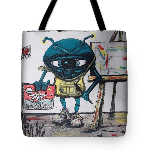 Alien Artist Tote Bag