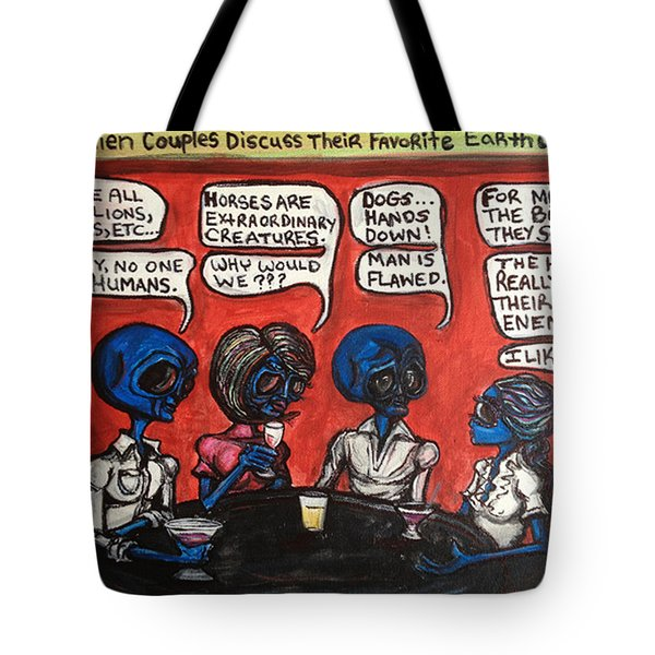 Alien Couples Discuss The Earths Creatures Over Drinks Tote Bag