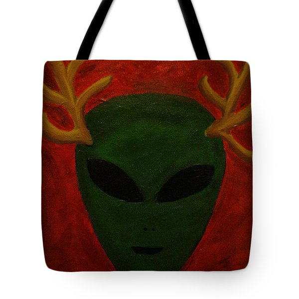 Tote Bag featuring the painting Alien Deer by Lola Connelly