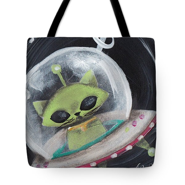 Alien Green Space Cat Tote Bag by Abril Andrade Griffith