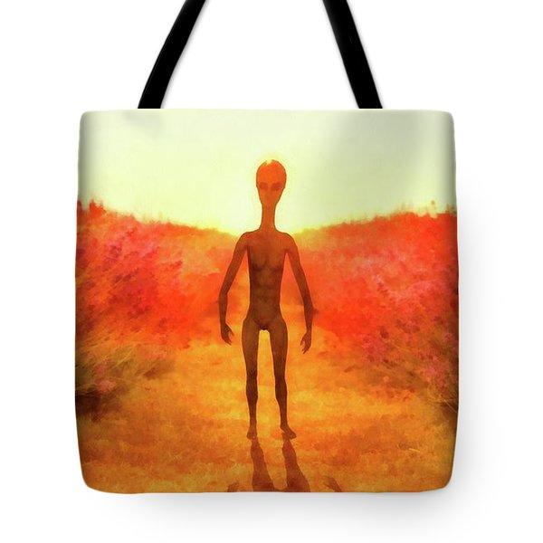 Alien In The Meadow Tote Bag