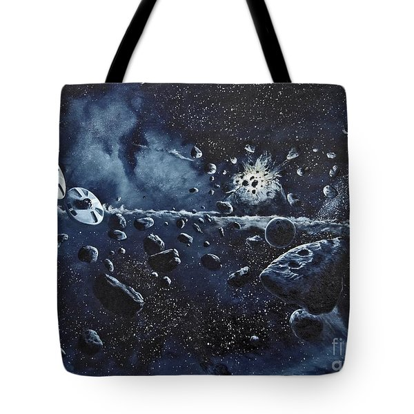 Alien Saucers Playing Dodge Rock Tote Bag by Murphy Elliott
