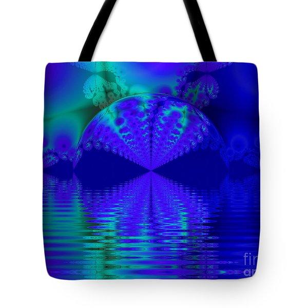 Alien Sunset Over Fantasy Lake Tote Bag