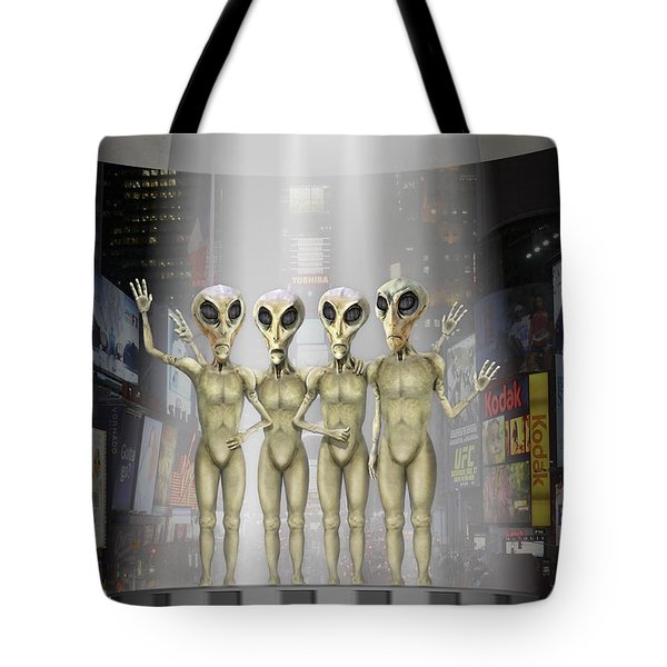 Alien Vacation - Beamed Up From Time Square Tote Bag by Mike McGlothlen