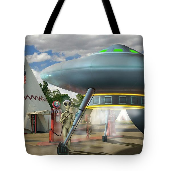 Alien Vacation - Gasoline Stop Tote Bag by Mike McGlothlen