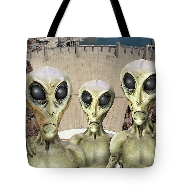 Alien Vacation - Hoover Dam Tote Bag by Mike McGlothlen