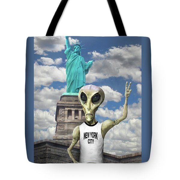 Alien Vacation - New York City Tote Bag by Mike McGlothlen