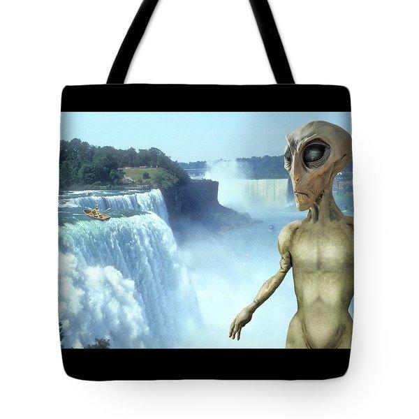 Alien Vacation - Niagara Falls Tote Bag by Mike McGlothlen