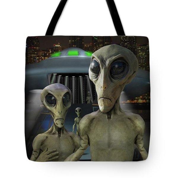 Alien Vacation - The Arrival  Tote Bag by Mike McGlothlen