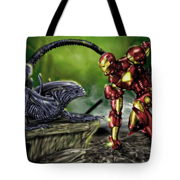 Tote Bag featuring the painting Alien Vs Iron Man by Pete Tapang